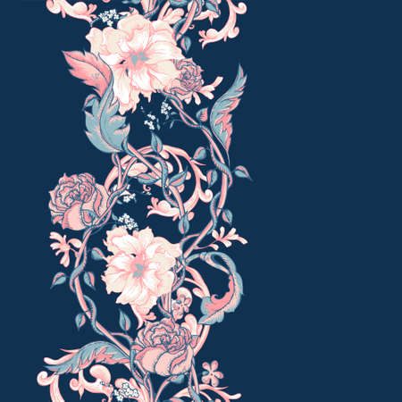 Vintage floral baroque seamless border with blooming magnolias, roses and twigs, vector illustration