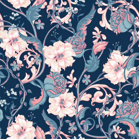 floral vector: Vintage floral baroque seamless pattern with blooming magnolias, roses and twigs, vector illustration