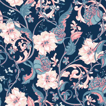 Vintage kwiatowy barokowy szwu z kwitnące magnolie, róże i gałązki, ilustracji wektorowych