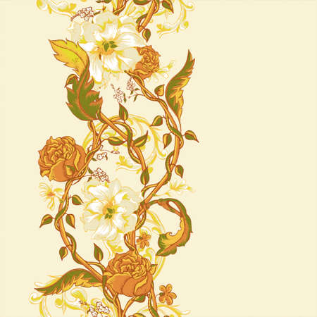 twigs: Vintage floral baroque seamless border with blooming magnolias, roses and twigs, vector illustration