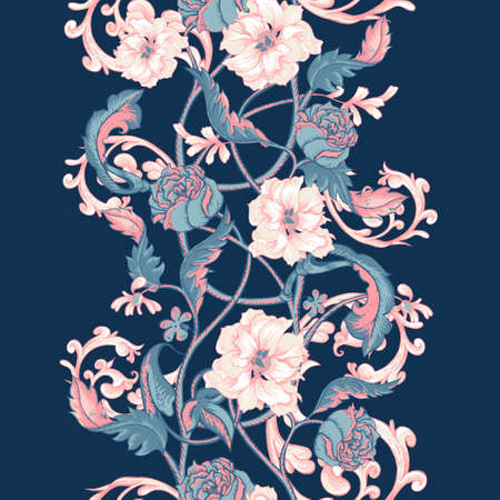 buds: Vintage floral baroque seamless border with blooming magnolias, roses and twigs, vector illustration