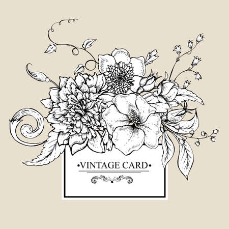 Vintage monochrome botanical greeting card with blooming peony, hibiscus, swirls and roses buds, hand drawn vector illustration Illustration