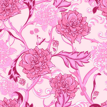 twigs: Vintage pink botanical seamless pattern with blooming peony and twigs, hand drawn vector illustration