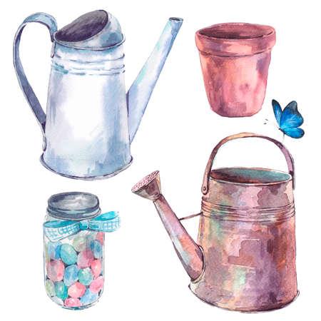 jardines con flores: Conjunto de frascos maceta acuarela riego de jardines y mariposas sobre fondo blanco Foto de archivo