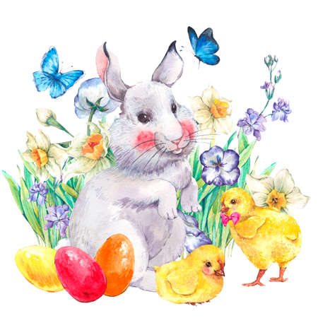 Watercolor vintage Happy Easter greeting card with cute bunny, colored eggs, chickens, flowers and butterflies, spring watercolor illustrations on a white background