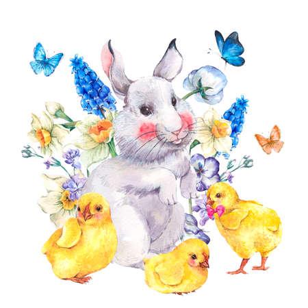 aves caricatura: Acuarela del vintage tarjeta de felicitación feliz de Pascua con el conejito lindo, pollos, flores y mariposas, ejemplos de la acuarela de primavera sobre un fondo blanco Foto de archivo