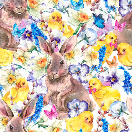 Watercolor vintage Happy Easter seamless pattern with cute bunny, chickens, flowers and butterflies, spring watercolor illustrations