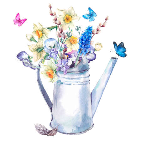 pansies: Beautiful spring bouquet with daffodils, violets, verbena, pansies, muscari and butterflies in the garden the white iron watering can, vintage watercolor illustration Stock Photo