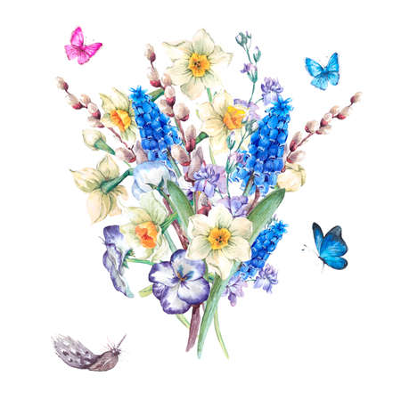 pussy willow: Gentle vintage watercolor spring bouquet with daffodils, violets, pussy-willow, pansies, muscari and butterflies, vintage watercolor illustration
