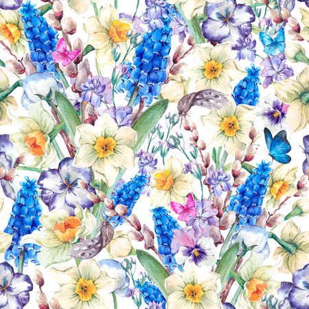 violets: Gentle vintage watercolor seamless pattern, spring bouquet with daffodils, violets, pussy-willow, pansies, muscari and butterflies, vintage illustration