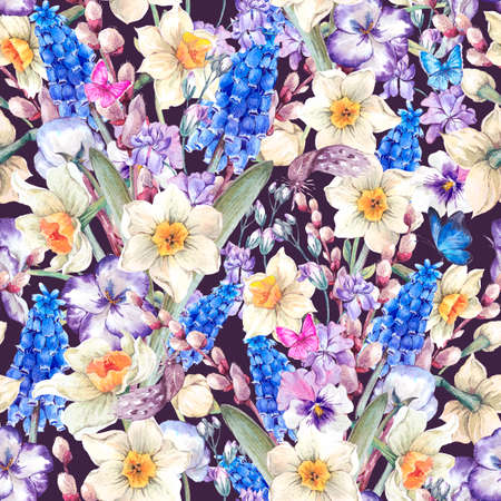 pansies: Gentle vintage watercolor seamless pattern, spring bouquet with daffodils, violets, pussy-willow, pansies, muscari and butterflies, vintage illustration
