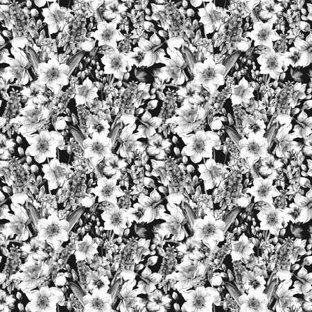 pansies: Gentle monochrome watercolor seamless pattern, spring bouquet with daffodils, violets, pussy-willow, pansies, muscari and butterflies, vintage illustration Stock Photo