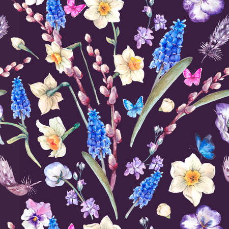 violets: Spring vintage seamless pattern, watercolor bouquet with daffodils, violets, pussy-willow, pansies, muscari and butterflies, vintage illustration