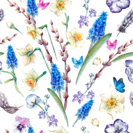 春のヴィンテージのシームレスなパターン、水仙の花、スミレ、猫-柳、パンジー、ムスカリ、蝶、ヴィンテージのイラストを水彩の花束 写真素材