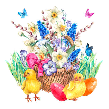 pansies: Happy Easter spring bouquet with daffodils, violets, easter eggs, chickens, pussy-willow, pansies, muscari and butterflies in the wicker, vintage watercolor illustration