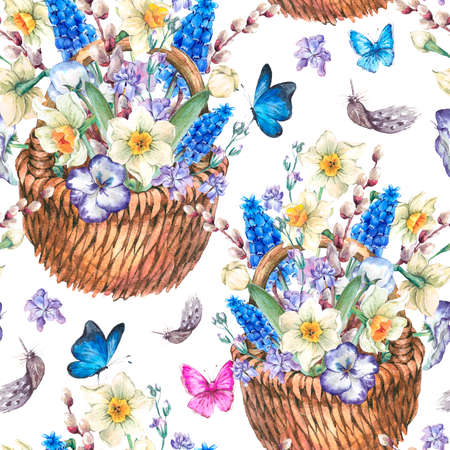 pansies: Beautiful spring seamless pattern with daffodils, violets, pussy-willow, pansies, muscari and butterflies in the wicker, vintage watercolor illustration