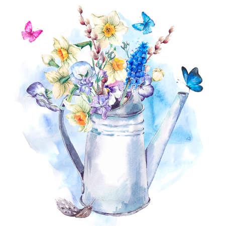 Schitterende lente boeket met narcissen, viooltjes, pussy-wilg, viooltjes, muscari en vlinders in de tuin wit ijzeren gieter, vintage waterverf illustratie Stockfoto