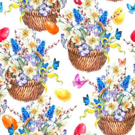 pansies: Watercolor vintage Happy Easter seamless pattern, garden bouquet with daffodils, violets, pussy-willow, pansies, muscari, color eggs and butterflies in the wicker, vintage watercolor illustration Stock Photo