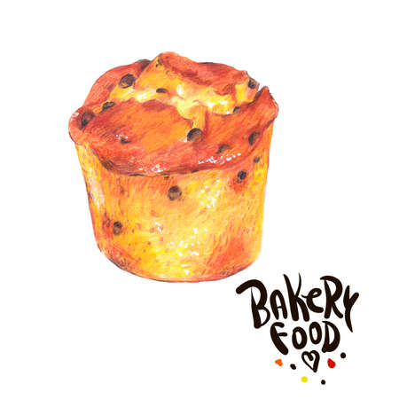 biscuit: Hand drawn bakery products isolated on a white background, plum-cake, Retro pencil food illustration