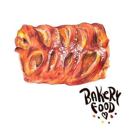 sweet bun: Hand drawn baking isolated on a white background, sweet bun with apple jam, Retro pencil food illustration Stock Photo