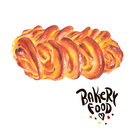 sweet bun: Hand drawn baking isolated on a white background, sweet bun, Retro pencil food illustration