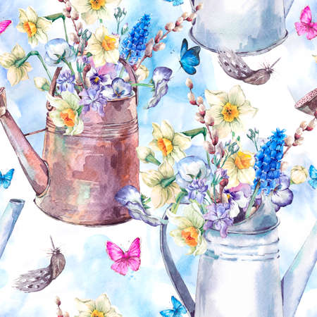 pansies: Beautiful seamless pattern with daffodils, violets, pussy-willow, pansies, muscari and butterflies in the garden iron watering can, vintage watercolor illustration