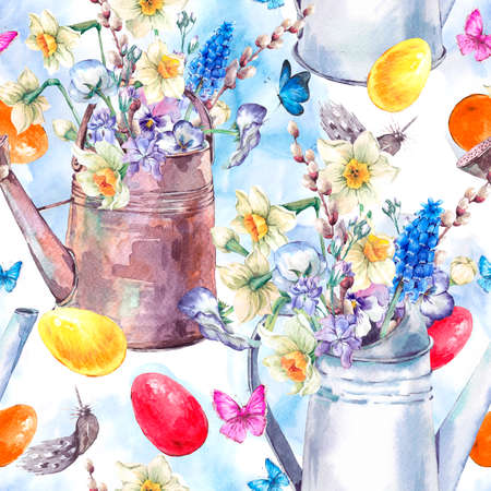 Watercolor vintage Happy Easter seamless pattern with garden bouquet, iron watering cane, easter eggs, flowers and butterflies, spring watercolor illustrations on a white background