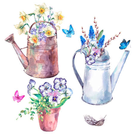 Watercolor garden set of spring blooming flowers, flower pot and iron watering can, vintage watercolor illustration