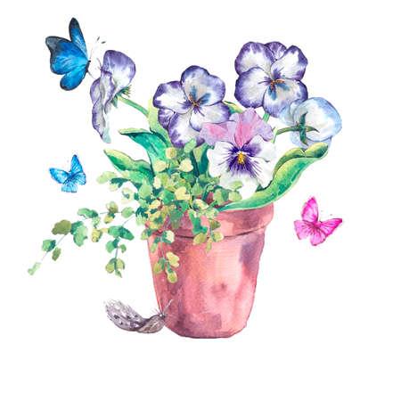 Aquarell Garten Frühlingsblumenstrauß in Blumentöpfen, Stiefmütterchen und Schmetterlinge, botanische Vintage Illustration Aquarell auf einem weißen Hintergrund Standard-Bild