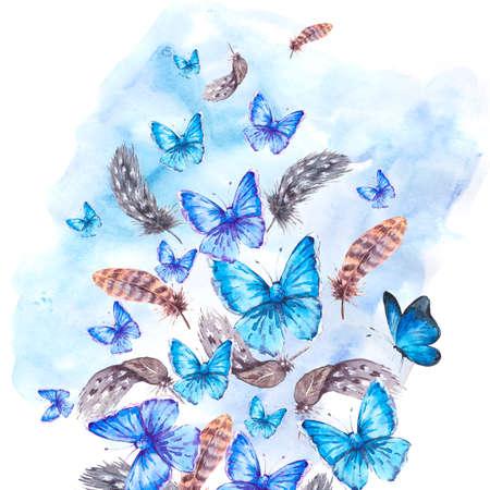 schmetterlinge blau wasserfarbe: Aquarell-Grußkarte mit Federn und blauen Schmetterlingen Illustration Vintage Boho auf einem weißen Hintergrund Lizenzfreie Bilder