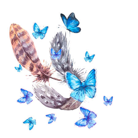 animal pattern: Watercolor greeting card with feathers and blue butterflies, vintage boho illustration isolated on a white background