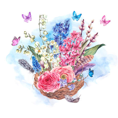 lily leaf: Watercolor Spring Greeting Card, Vintage flowers bouquet in the nest, willow lilies hyacinths muscari ranunculus butterflies and feathers, botanical watercolor illustration