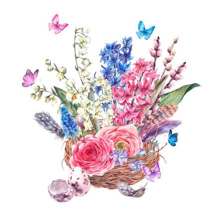 Aquarell Frühlings-Gruß-Karte, Vintage-Blumen-Bouquet im Nest, Weide Lilien Muscari Hahnenfuß Schmetterlinge Hyazinthen und Federn, botanische Aquarellillustration