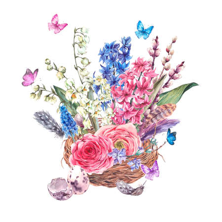 Watercolor Spring Greeting Card, Vintage flowers bouquet in the nest, willow lilies hyacinths muscari ranunculus butterflies and feathers, botanical watercolor illustration