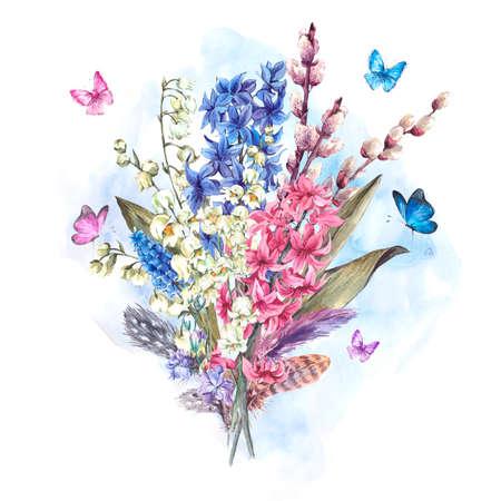 flor de lis: Acuarela tarjeta de felicitación de la primavera, flores de la vendimia ramo, lirios de sauce jacintos Muscari mariposas y plumas, ilustración botánica de la acuarela Foto de archivo
