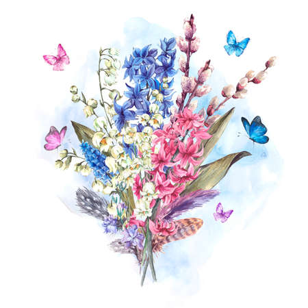 Watercolor Spring Greeting Card, Vintage flowers bouquet, willow lilies hyacinths muscari butterflies and feathers, botanical watercolor illustration Stockfoto