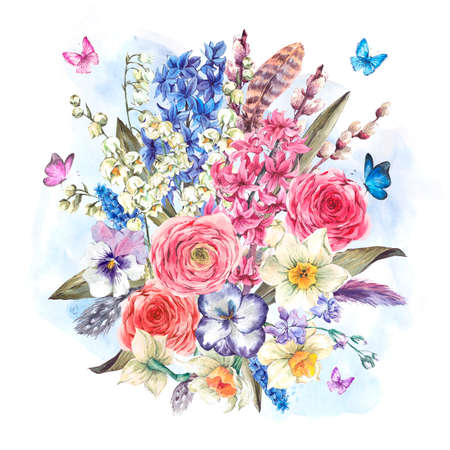 field flowers: Watercolor Spring Greeting Card, Vintage flowers bouquet, willow lilies hyacinths muscari daffodils ranunculus butterflies and feathers, botanical watercolor illustration Stock Photo