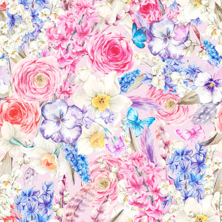 rose garden: Gentle Watercolor seamless background, Vintage flowers bouquet, willow lilies hyacinths muscari daffodils ranunculus butterflies and feathers, botanical watercolor illustration