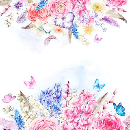優しい水彩画春グリーティング カード、ヴィンテージ花束の花、柳ユリ ヒヤシンス ムスカリ水仙ラナンキュラス蝶、羽、植物の水彩イラスト