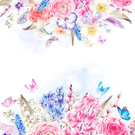 부드러운 수채화 봄 인사말 카드, 빈티지 꽃 꽃다발, 버드 나무 백합 히아신스 수선화 라 난큐 라스의 나비와 깃털, 식물 수채화 그림을 muscari 중