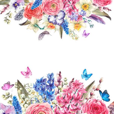 Aquarell Frühlings-Gruß-Karte, Vintage Blumen Strauß, Weiden Lilien Hyazinthen Muscari Narzissen Hahnenfuß Schmetterlinge und Federn, botanische Aquarellillustration