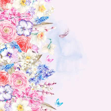 flor de lis: Acuarela de la tarjeta de felicitaci�n de primavera suave, Flores de la vendimia ramo, lirios de sauce jacintos Muscari narcisos mariposas ran�nculo y plumas, ilustraci�n bot�nica de la acuarela