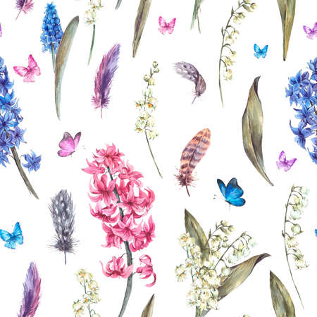 valley: Watercolor Vintage Spring Seamless Pattern with Feathers, Butterflies Hyacinths and Lily of the Valley, feathers, botanical watercolor illustration