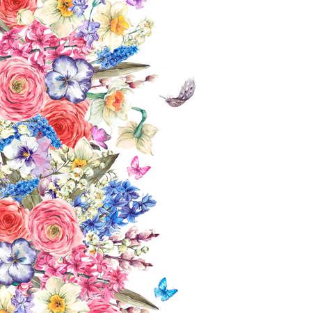 Watercolor De lente groet, vintage bloemenboeket, wilg lelies hyacinten Muscari narcissen ranonkel vlinders en veren, botanische waterverfillustratie Stockfoto