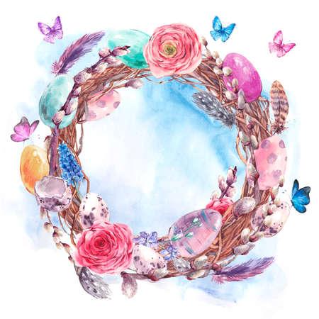 Aquarell Frohe Ostern Kranz, Frühlingsstrauß mit Pussyweide, Muscari, gefärbte Eier, ranunkulus, Federn und Schmetterlinge, botanische Weinlese-Aquarell-Illustration