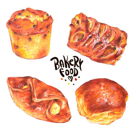sweet bun: Hand drawn baking set isolated on a white background, sweet bun with apple jam, curd cream, plum-cake, poppy seeds, Retro pencil food illustration