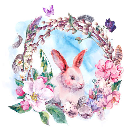 Watercolor spring Happy Easter wreath with blooming branches of peach, pear, apple, pussy-willow, bunny, eggs, feathers and butterflies, botanical vintage watercolor illustration.