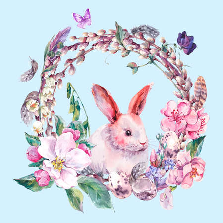 rabbits: Watercolor spring Happy Easter wreath with blooming branches of peach, pear, apple, pussy-willow, bunny, eggs, feathers and butterflies, botanical vintage watercolor illustration.