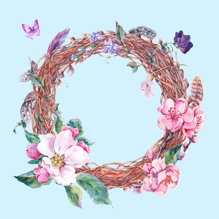 pink flower: Watercolor spring wreath with pussy-willow, feathers, blooming branches of peach, pear, apple  and butterflies, botanical vintage watercolor illustration.