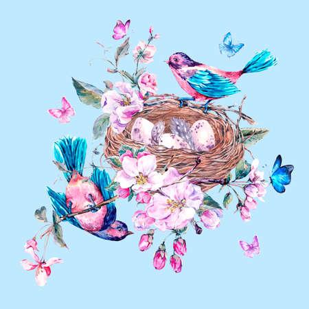 cartoline vittoriane: Vintage giardino acquerello carta di primavera auguri con fiori rosa in fiore rami di pesca, pera, alberi di mele, uccelli, nido e farfalle, isolato illustrazione botanica